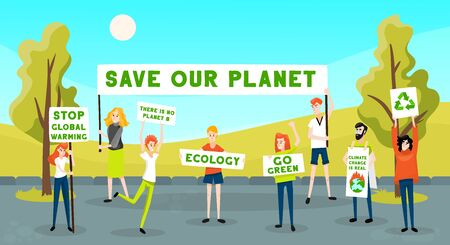 Protesting people activist ecology go green composition with outdoor landscape and group of young protester characters vector illustration