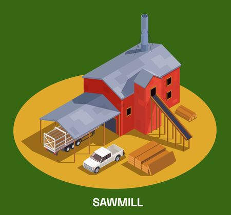 Sawmill timber mill lumberjack isometric composition with text and round spot with industrial building and cars vector illustration