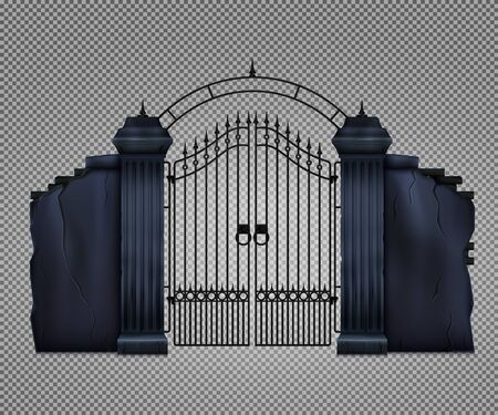 Old dark gothic cemetery gate on transparent background realistic vector illustration