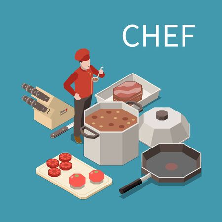 Professional kitchen appliances staff food isometric composition with restaurant chef tasting soup from commercial pot vector illustration