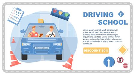 Driving school banner with man taking test flat vector illustration