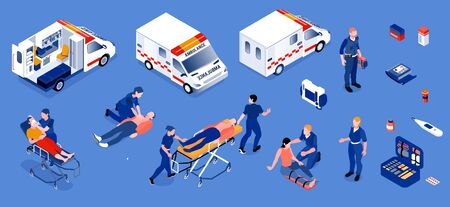 Ambulance isometric set of reanimobiles and medical personnel providing first aid to patients isolated vector illustration