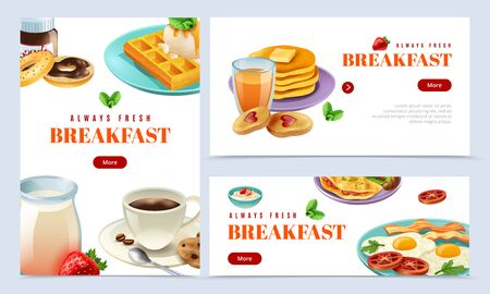 Always fresh breakfast isolated banner set with plate of scrambled eggs and bacon coffee milk bakery vector illustration