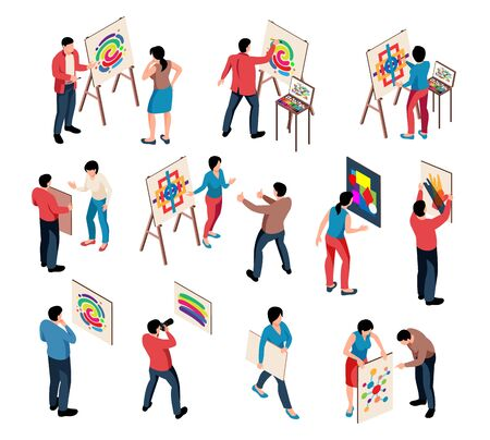 Isometric exhibition art gallery artist curator ser of isolated human characters with paintings on blank background vector illustration