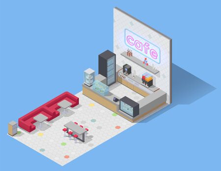 Food court isometric composition with view of empty cafe with sofa seats tables and bar counter vector illustration