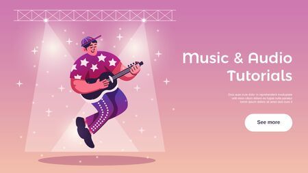Hobbies free time activities online tutorials horizontal web banner with guitar player under stage lights vector illustration