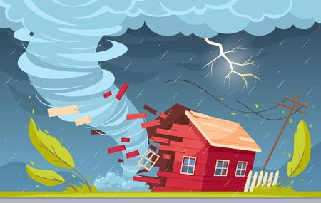 Natural disaster cartoon composition with outdoor suburban scenery rain clouds and tornado vortex destroying living house vector illustration 向量圖像