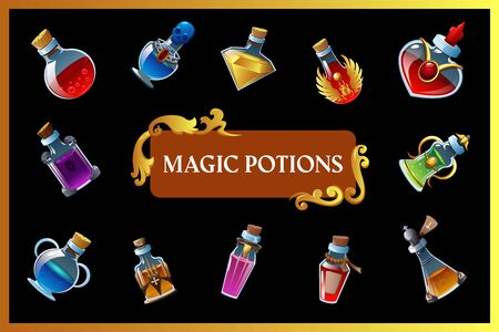 Magic potion game background with isolated mini bottles and colored liquid inside vector illustration