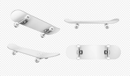 Realistic set of white skateboards isolated on transparent background vector illustration