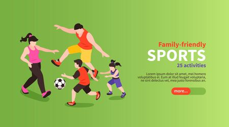 Family fitness isometric poster with footbal sports activity vector illustration