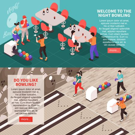 Isometric bowling banners set with editable text clickable buttons and view of friends playing bowling together vector illustration