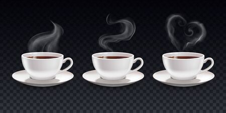 Steam smoke realistic cups set on transparent background with white cups of coffee with fume shapes vector illustration