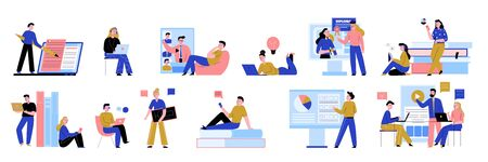 Online education flat composition set with students reading e-books chatting with tutors using laptops vector illustration Ilustración de vector