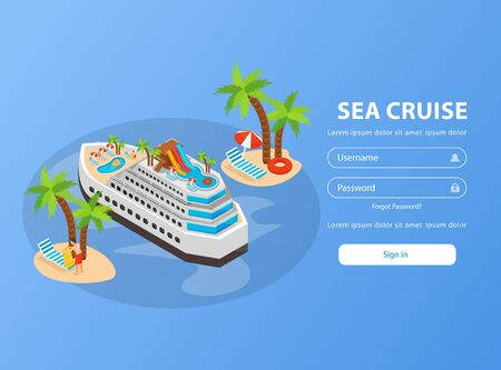 Sea cruise isometric booking page with palm trees ship username and password fields for registration vector illustration