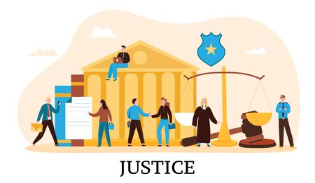 Law justice flat composition with courthouse judge balance verdict gavel court proceeding trial defendant attorney  vector illustration