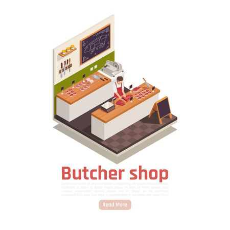 Butcher cutting meat on wooden counter worktop in his shop with knives slicer scale isometric vector illustration Ilustração