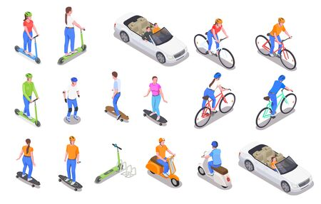 Human characters riding and driving personal transport colored isometric icons set isolated on white background 3d vector illustration