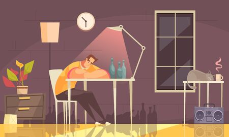 Cartoon background with lonely upset man suffering with alcohol sitting on chair at home addiction vector illustration