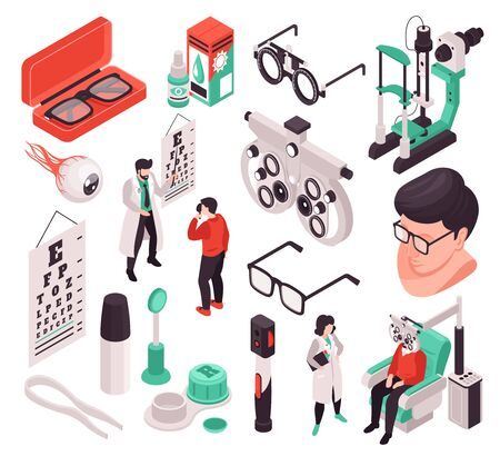 Set with isolated isometric ophthalmology icons and images of eye lens care products and people vector illustration