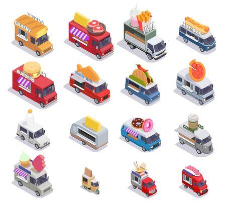 Ensemble isométrique de camion de nourriture de seize images isolées avec des points de vente de restauration rapide mobiles d'illustration vectorielle de conception différente
