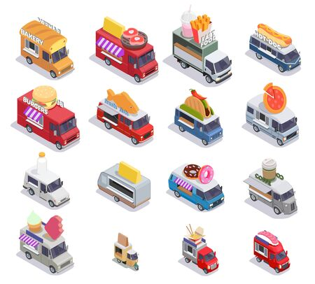 Food truck isometric set of sixteen isolated images with mobile fastfood selling points of different design vector illustration