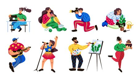 Popular hobbies 8 flat colorful characters enjoying knitting sewing singing cooking drawing gardening playing guitar vector illustration  Stock Illustratie