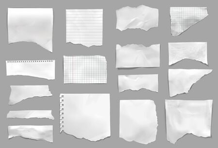 Ripped torn from notebook checked pages college lined paper scraps grey background realistic set isolated vector illustration
