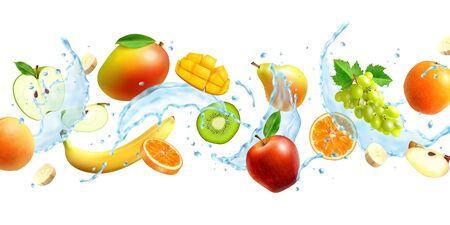Realistic horizontal background with different fruits and splash of water vector illustration