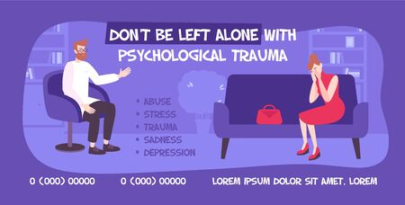 Psychology banner flat background with indoor scenery and behavioral therapist with client and editable advertising text vector illustration