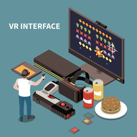 People and interfaces isometric poster with man wearing virtual reality glasses and using  controller for game vector illustration