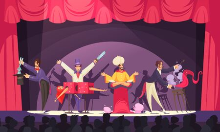 Magicians and jinn performing on circus stage in front of audience cartoon vector illustration
