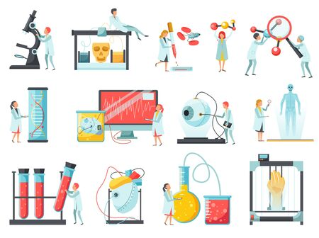 Future biotechnology flat icons set with lab tests tubes dna research electronic microscope computer simulations vector illustration Ilustración de vector