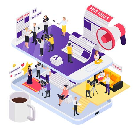 Abstract journalistis reporters news media isometric composition with world hot star news descriptions vector illustration