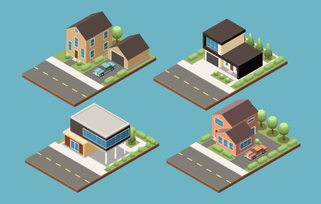 Suburban buildings of different designs isometric collection with garage and croft isolated vector illustration