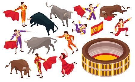 Isometric bullfight set of isolated icons with arena and bulls fighting with toreador on blank background vector illustration
