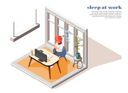 Hi-tech sleeping colored isometric composition with innovate and special tool for sleep at work vector illustration Banque d'images - 140643518