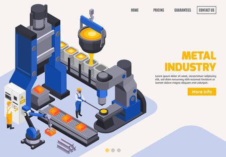 Metal industry colored banner with steel making automated equipment conveyor workers 3d isometric vector illustration Vettoriali