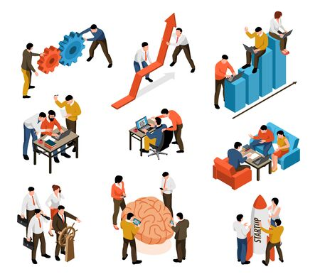 Teamwork collaboration support innovative ideas problem solutions brainstorming common goal profitable startup isometric icons set vector illustration
