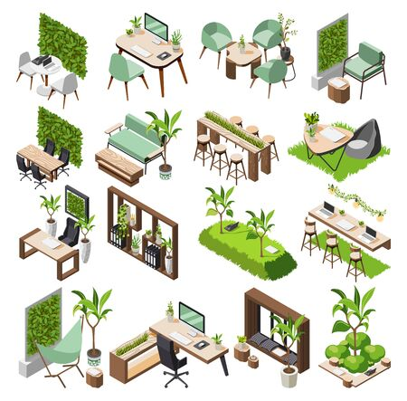 Green office isometric icon set with green plants and flowers eco equipment and tool furniture vector illustration