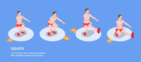 Workout isometric people background with isolated figures of male athlete performing squat exercises with editable text vector illustration Ilustracja