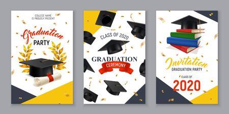 Bannières verticales réalistes sertie d'une fête de remise des diplômes et d'une invitation à une cérémonie illustration vectorielle isolée Vecteurs