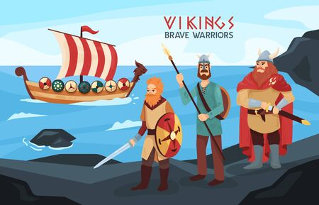 Armed viking brave warriors seafarers on black rocks seashore with raid ready longship on background vector illustration
