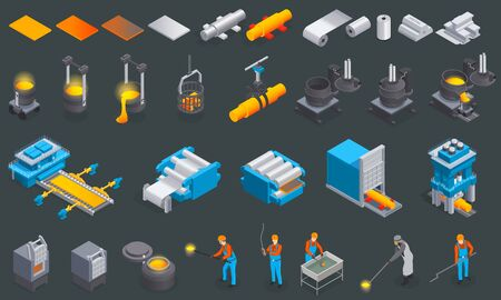 Metallurgy foundry industry isometric set with isolated icons and images of metal production factory equipment machinery vector illustration Vecteurs