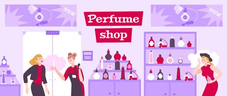 Perfume shop background with people and odor symbols flat vector illustration