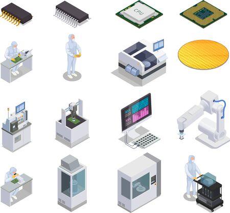 Ensemble isométrique de production de puces à semi-conducteurs d'icônes isolées avec des microcontrôleurs de personnes et des racks de laboratoire avec des ordinateurs illustration vectorielle