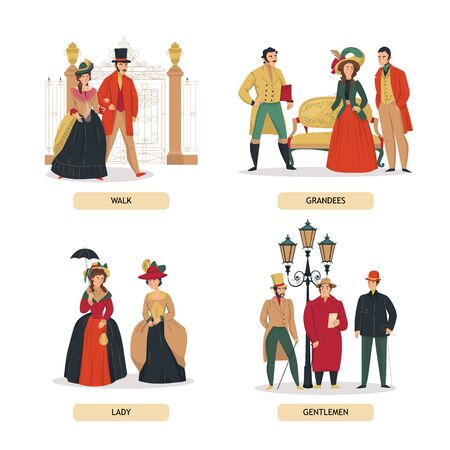 18th 19th century old town fashion compositions set with text and human characters of aristocratic people vector illustration