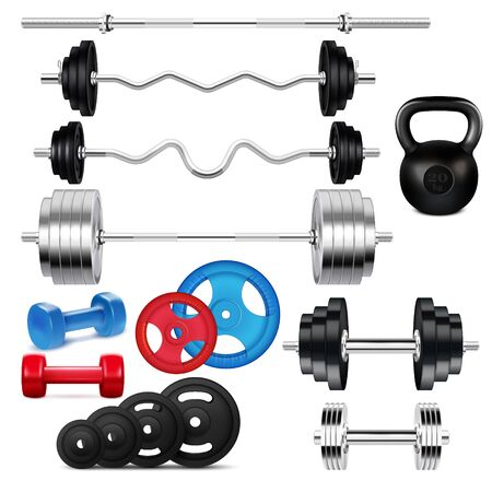 Colorful barbells and dumbbells of various size and weight realistic icons set on white background isolated vector illustration