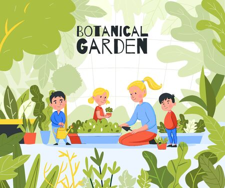 Kindergarten garden outdoor composition with images of green leaves plants and group of children with teacher vector illustration