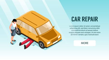 Isometric auto repair horizontal banner with clickable button editable text and character of worker under car vector illustration