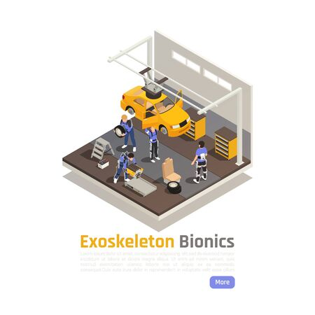Modern workshop isometric composition with workers in exoskeleton suits engaged in assembly or car repair vector illustration